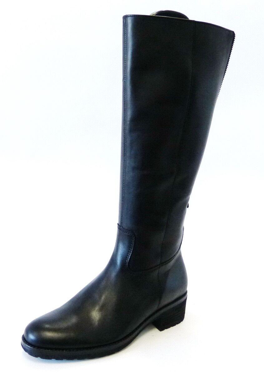 Gabor Lang caña botas 615 27 negro de cuero caña m cremallera