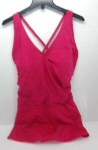 Women-039-s-Tropical-Escape-V-Neck-One-Piece-Swim-Dress-Vivacious-Pink-Plus-Size-24