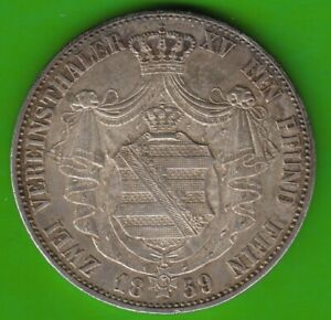 Saxony-Double-Thalers-1859-Better-Than-XF-Very-Nice-nswleipzig
