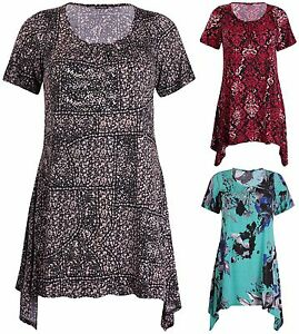 Womens-Plus-Size-Printed-Ladies-Stretch-Short-Sleeve-Swing-Long-Flared-Dress-Top