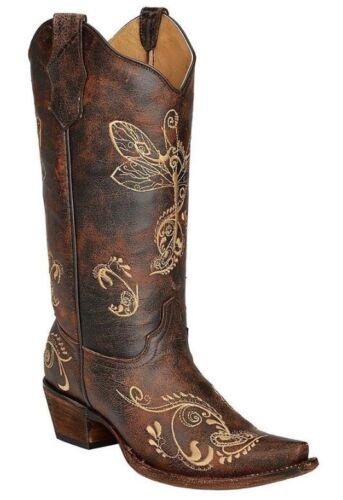 Donna Girl Libellula G Cerchio Stivali Da Marrone West Cowboy Corral Ossa A YIqpw