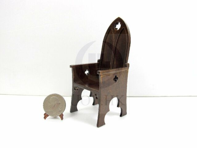 Finished In Dark Walnut 1:12 Scale Miniature Church Pew For Doll House