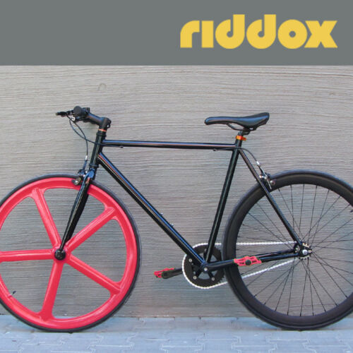 """Rear Single-Speed Bicycle Fixie 28/"""" with tyres Hose Black Matt Riddox Front O"""