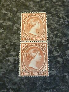 FALKLAND ISLANDS POSTAGE STAMPS SG18A PAIR 1D MOUNTED MINT