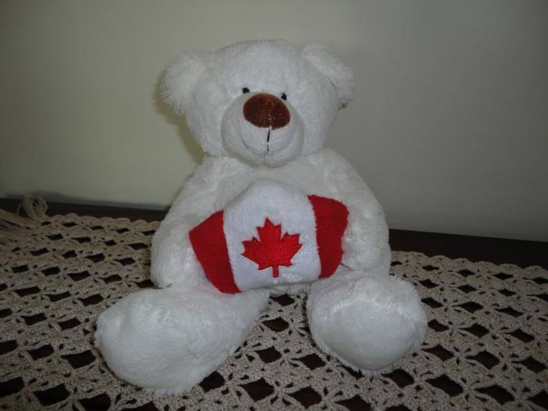 Weiß Teddy Bear Plush Holding Canadian Flag