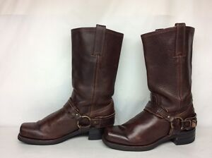 #6 MENS FRYE SQUARE TOE HARNSS MOTORCYCLE LEATHER BURGUNDY BOOTS SIZE 8.5 M