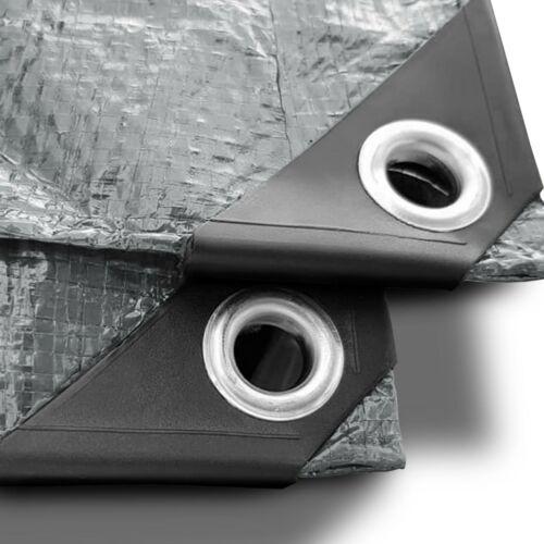 Abdeckplane  Gewebeplane Industrieplane Schutzplane Bau Garten Plane Ösen Silber