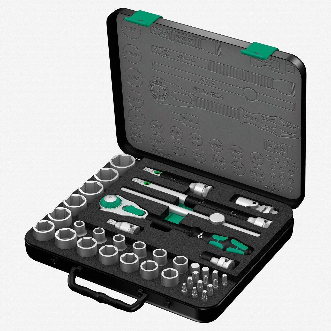 Wera 003647 Zyklop Rachet Premium 1 2  Drive SAE Set