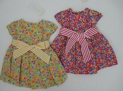 NWT Ralph Lauren Infant Girls Blue Seersucker Party Dress Sz 3m 6m 9m 12m NEW