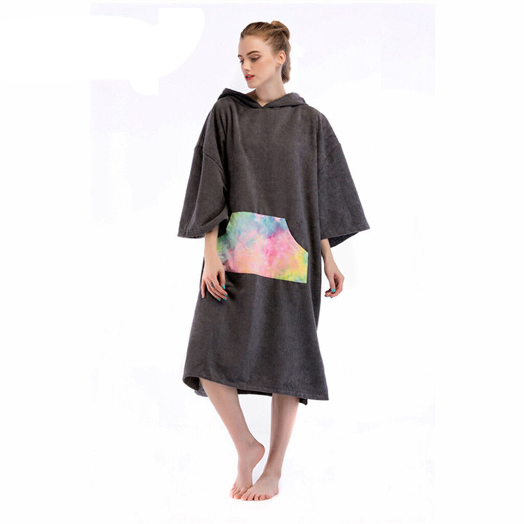 Surf Hood Poncho Robe Wetsuit Changing Towel Bathrobe f  Beach Swim Windsurf