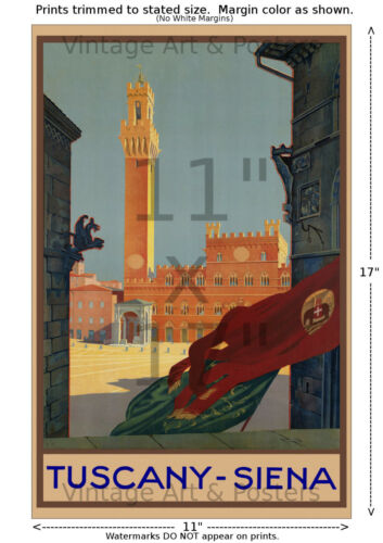 Tuscany Siena Palazzo Publico Vintage Travel Poster 6 sizes matte+glossy avail