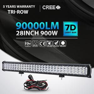 Tri row 28inch 900w cree led light bar spot flood combo beam car image is loading tri row 28inch 900w cree led light bar aloadofball Choice Image