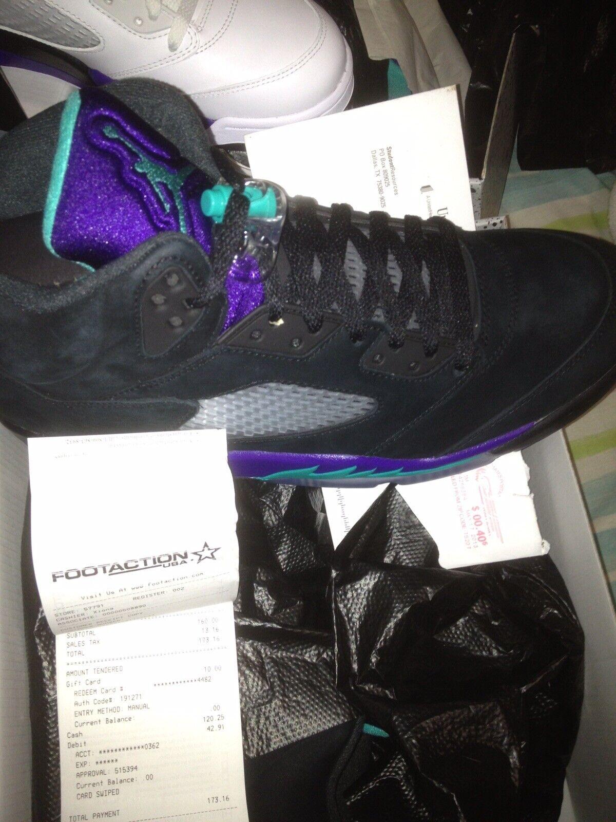 DS Jordan Retro V 5 Black Grapes Sz 10 shoes W  Receipt