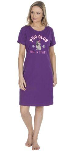Nightie Ladies 100/% Cotton Pug or Unicorn Nightdress Nightshirt