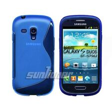 Blue. S-line Gel TPU Silicone Case Skin Cover for Samsung Galaxy S Duos GT-S7562