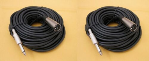 """2 Lot 100Ft XLR 3Pin Male to 1//4/"""" Mono Plug Mic Microphone Cord Audio Cable"""