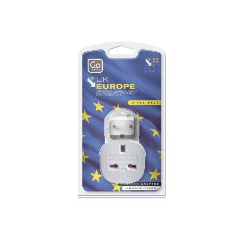 Go Travel Reino Unido a la UE enchufe 2x Adaptador Adaptador Twin Pack Para CEE Turquía India Europa