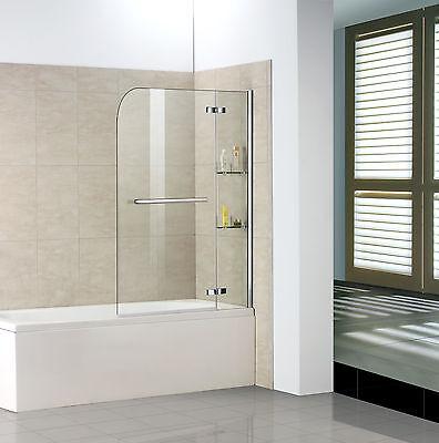 90-120x140cm ESGGlas 2 tlg.Faltwand mit 2 Eckregalen Badewannenaufsatz Duschwand