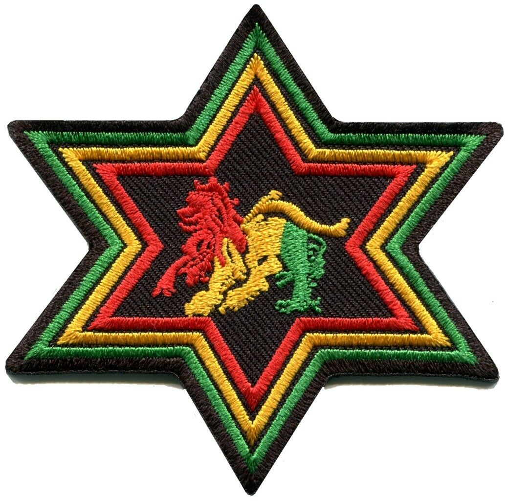 Lion Judah Rasta Flag Reggae Ganja Weed P1327 Embroidered Iron on Patch Jacket