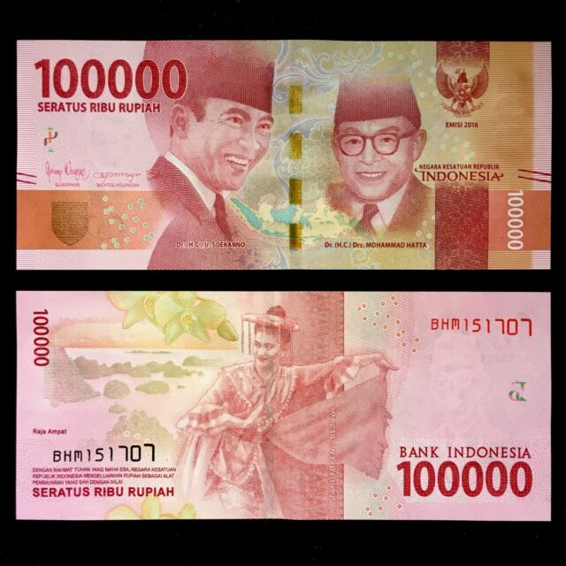 2016//2019 INDONESIA 100,000 100000 RUPIAH P-160 UNC/> /> />ACHMED SUKARNO MOHAMMED