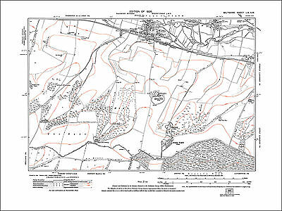Wylye and archaeology sites to the south old map Wiltshire 1926 59SW repro