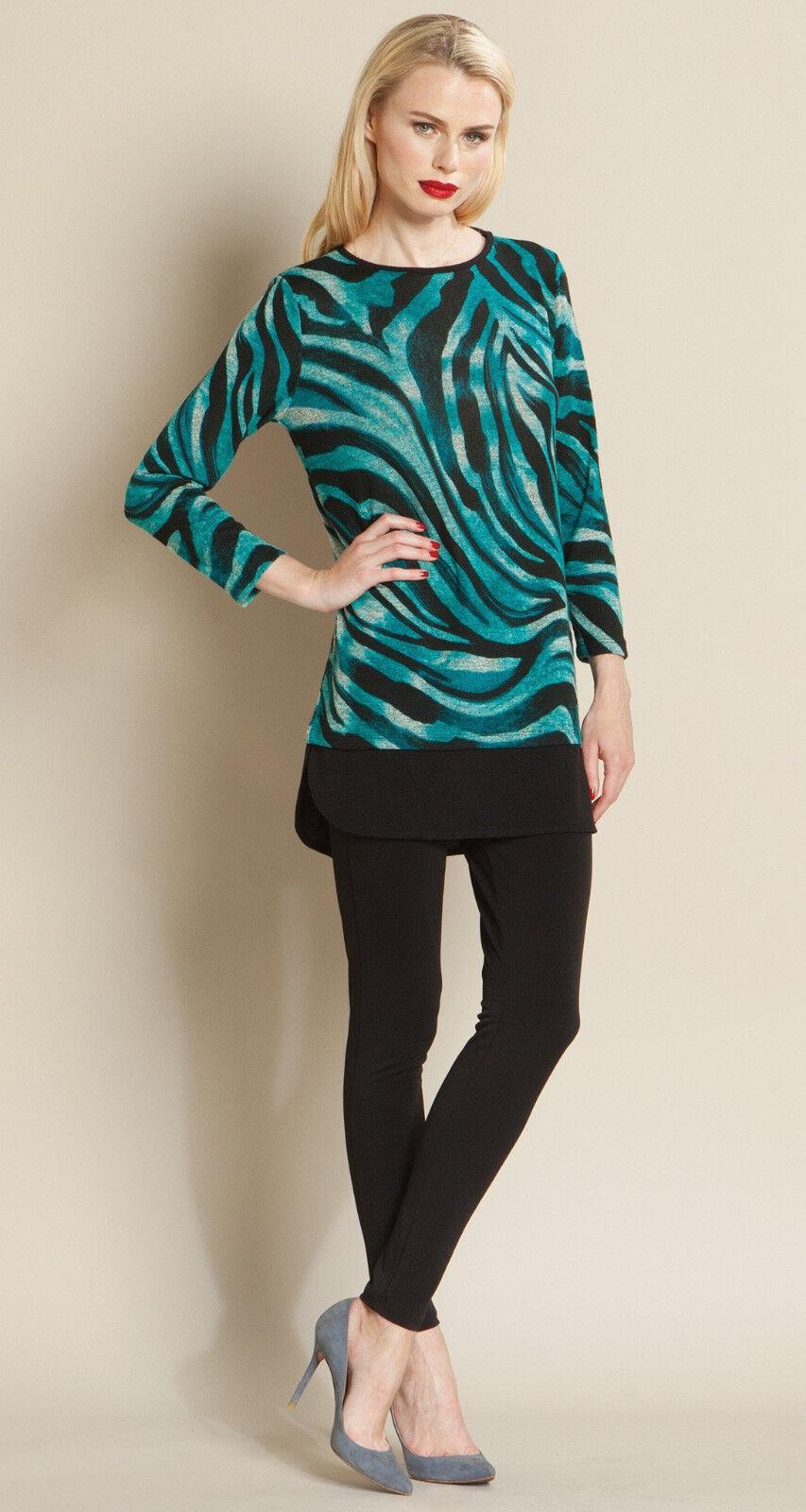 Clara Sun Woo Turquoise Zebra Swirl Print & Noir Ourlet Pull Tunique SZ. M 98
