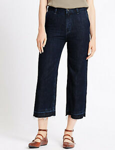 LADIES M/&S SIZES 10 12 OR 14 INDIGO PURE COTTON WIDE LEG CROPPED JEANS FREE POST
