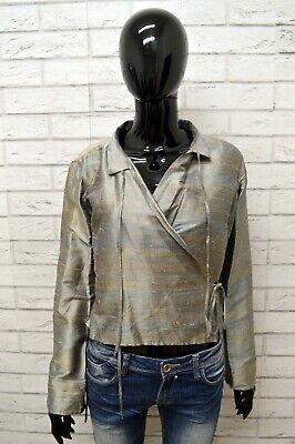 Romantico Giacca Blazer Donna Dondup Taglia L Jacket Silk 100 % Seta Doppiopetto Chimono Ottima Qualità