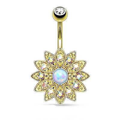 1 Single 14K Gold Plated Dangle Turquoise Belly Ring 14g Gemstone CZ Navel 128