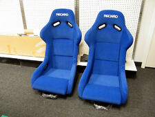 NEW RECARO SP-G STYLE BUCKET SEAT BLUE +WHITE STITCHING + SLIDERS + RAILS