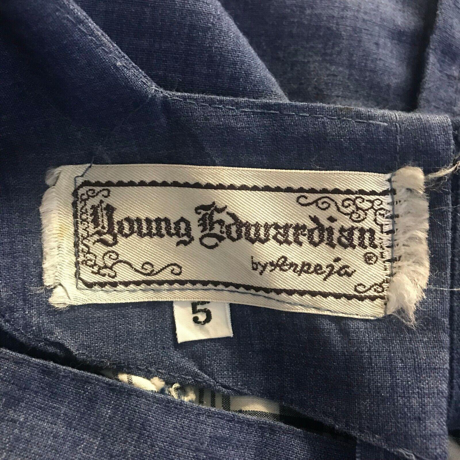 Vtg 60s Young Edwardian Arpeja 5 Denim Plaid Patc… - image 12