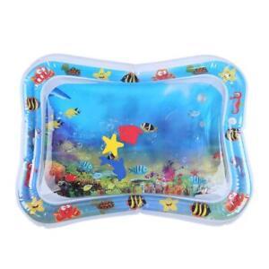 Aufblasbare-Wassermatte-fuer-Baby-Kleinkinder-Matratze-Splash-Playmat-Bauch-Blau