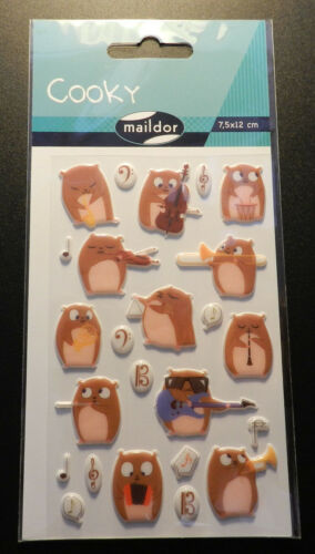 7,5x12cm Sticker Set Cooky Hamster//Musik Maildor 24 tlg 3D-Sticker