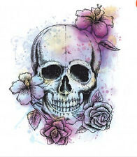 FLORAL SKULL wall sticker MURAL 1 big decal skeleton room decor teen dorm flower