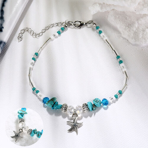 Details about  /Boho Bracelet Gift Turquoise Starfish Beads Starfish Anklet Beach Sandal Ankle
