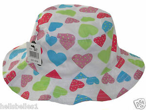 GIRL'S SUMMER/SUN BUCKET HAT WITH HEARTS 44-50CM 8 12 18 24MTHS APPROX