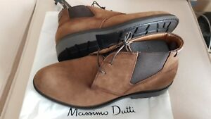 2839fa73fb8 Details about MASSIMO DUTTI MEN'S 2018 BEIGE SPLIT SUEDE LEATHER STRETCH  ANKLE BOOTS 8005/222