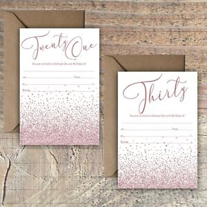 BIRTHDAY-INVITATIONS-BLANK-PINK-GLITTER-EFFECT-21ST-30th-PACKS-OF-10