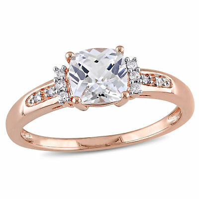 Amour 10k Rose Gold Created White Sapphire and Diamond Accent Ring