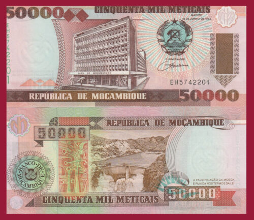 $8 Cat Val 50,000 Meticais Bank Bldg // Cahara dam Mozambique P138 UNC see UV