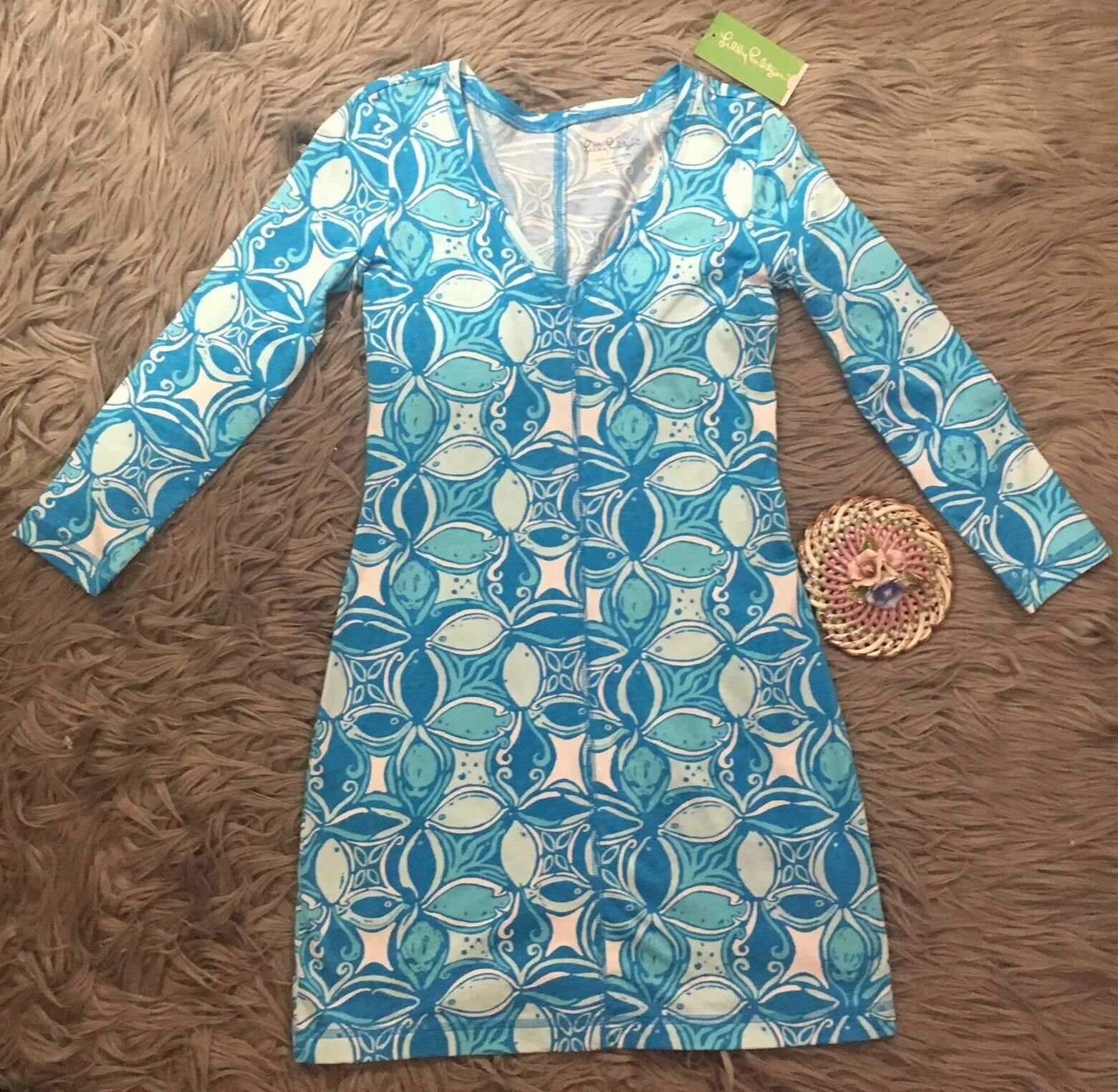 Lilly Pulitzer Juliet Dress in Ariel Blau What A Racquet Größe XXS NWT
