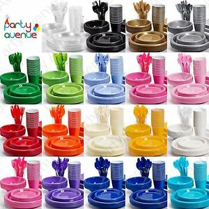 Image is loading Coloured-Plastic-Party-Tableware -Birthday-Wedding-Catering-Event-  sc 1 st  eBay & Coloured Plastic Party Tableware Birthday Wedding Catering Event ...