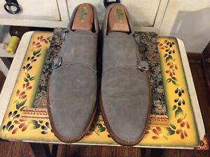 Men's Banana Republic gray suede shoes with Double  monk strap 9.5M, EUC