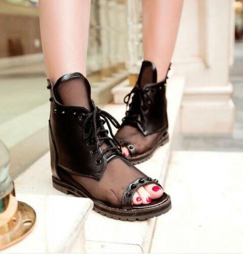 Roman Women Mesh Plus Size Ankle Boot Sandals Open Toe Lace Up Flat Casual Shoes