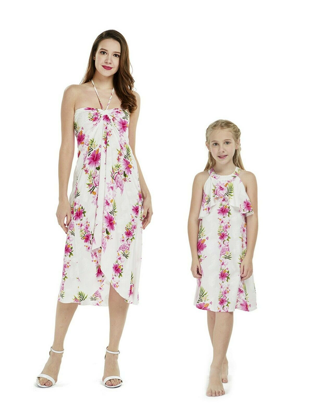 Hawaii Hangover Mother Daughter Matching Luau Party Dress In Pink Hibiscus Vine