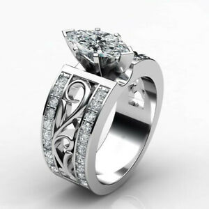 Elegant-Women-925-Silver-Wedding-Ring-Marquise-Cut-White-Sapphire-Ring-Size-6-10