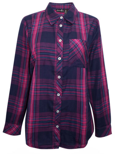 New Ladies Pure Cotton Checked Shirt Blouse Tab Long Sleeves Top Plus Size 12-28