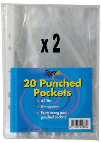 A5 PUNCHED POCKETS PLASTIC GLASS CLEAR PUNCH FILE RING BINDER WALLET Pack of 40