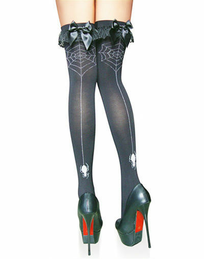 Stockings Thigh Knee High Black Halloween Detail Gothic Lingerie Hosiery New