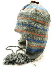 Winter Urban Pipeline Earflap Beanie Headphones Gray Blue Stripes Peruvian 7892
